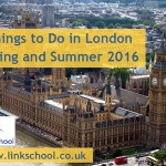 Events in London in Spring and Summer 2016. Big Ben and Houses of Parliament in the background.