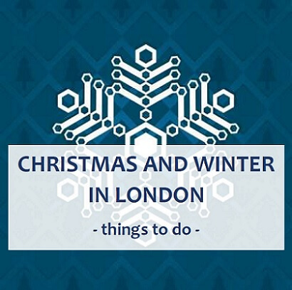 Winter and Christmas in London - things to do, snowflake and Christmas trees in the background