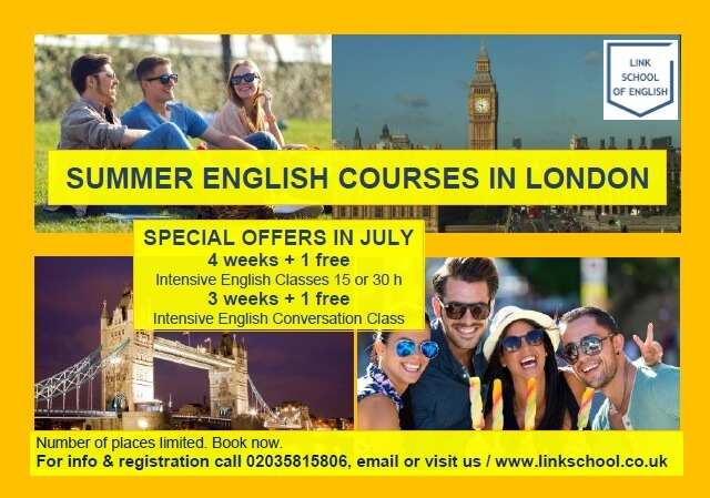 Summer English Courses in London - Enjoy London and Practice Your English. Big Ben, Tower Bridge and people in the park in London.