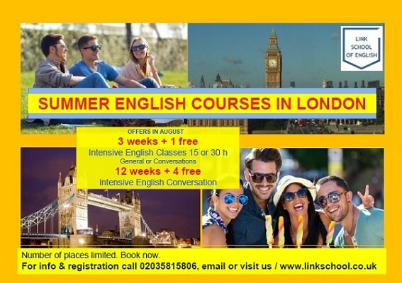 Offers on Intensive English Courses in London in Summer 2016. General English or Conversation Classes at Link School - an English language centre for adults
