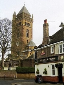 St Mary's church and Rose and Crown pub in South Ealing, west London