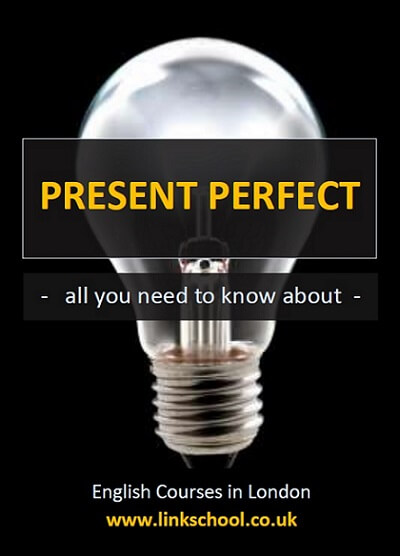 Light bulb. Light bulb moment when you find out how use the Present Perfect English tense. All you need to know about Present Perfect. English Courses in London with Link School.