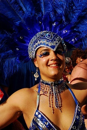 Woman dancing in Notting Hill Carnival in London