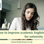 How to improve academic English skills. Female university student writing.