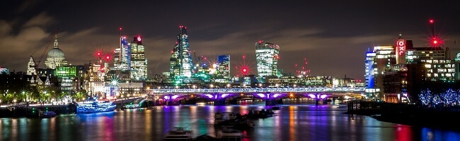 Night panorama of London
