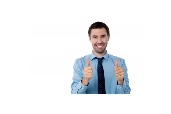 A man with thumbs up after successful job interview in English